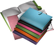 leather planners with tab closures, in an assortment of rich colors