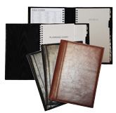 glazed Italian-style leather planner systems in black, Burgundy and cognac