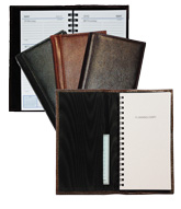 inside and outside views of black, Burgundy and cognac leather pocket-size planners