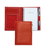 inside and outside views of red leather mini planner combo