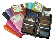 leather passport & travel organizers in a range of traditional and fashion colors