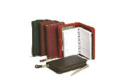 zippered leather organizer planners shown in red, black, plum, brown and brick red